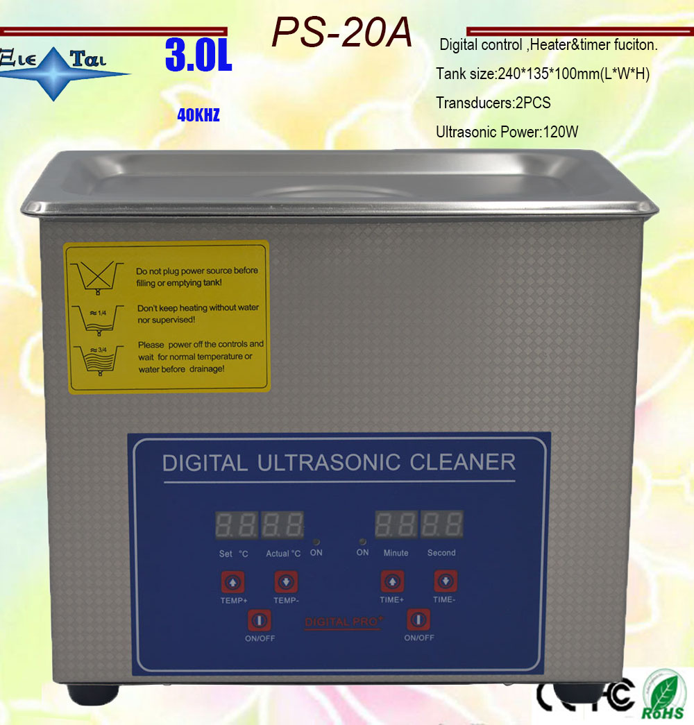 Hot Sale  AC110V/220V  120W Digital Ultrasonic Cleaner 3L  PS-20A  40KHz With Free Basket For Small Parts Bath