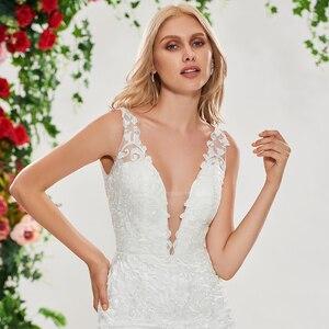 Image 4 - Dressv ivory mermaid wedding dress v neck sleeveless lace sweep train floor length bridal outdoor&church wedding dresses