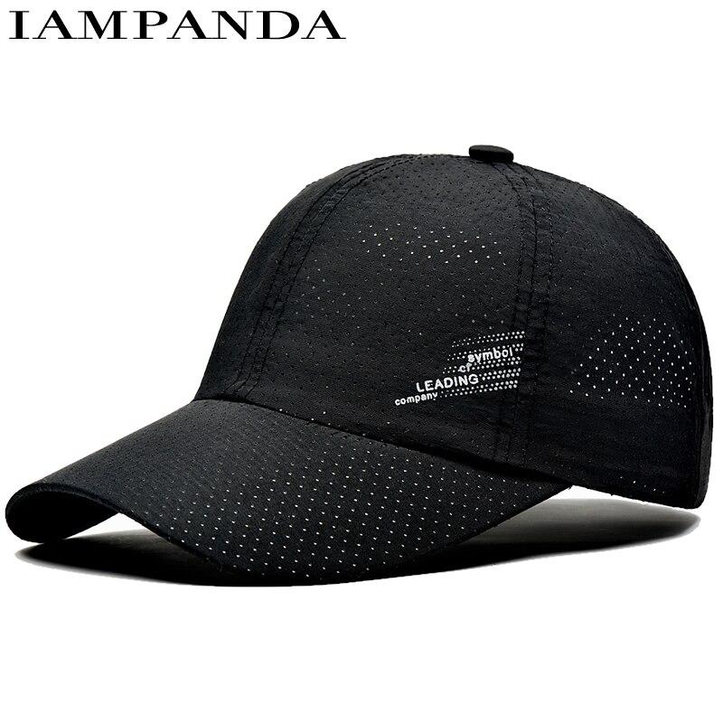 Iampanda 2017 Wholesale Summer Quick Dry Baseball Cap Sports Sun Hat Breathable Cap Unisex Letter Polyester Caps Snapback Gorra