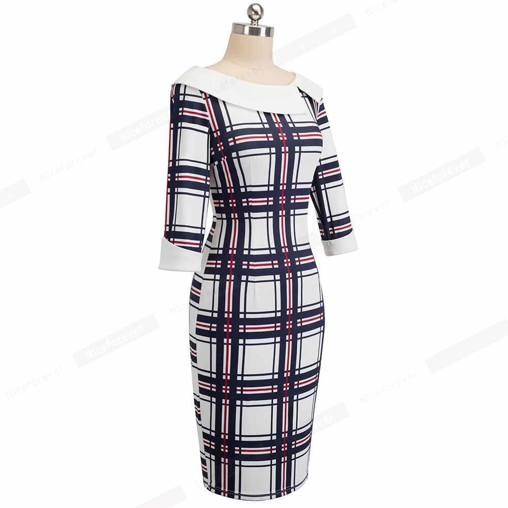 Классический плед Bodycon тонкий карандаш осеннее платье Повседневное работы Бизнес Офисные женские туфли платье HB468
