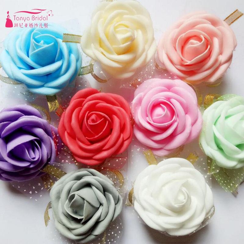 Cheap pink bride bridesmaid flowers, cheap wedding supplies ribbon wrist Flower for wedd ...