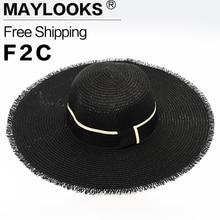 Maylook 2017 Fashion Visor Seaside Sun Hat Female Summer Hats for Women Large Brimmed Straw Hat Folding Beach Girls HN01