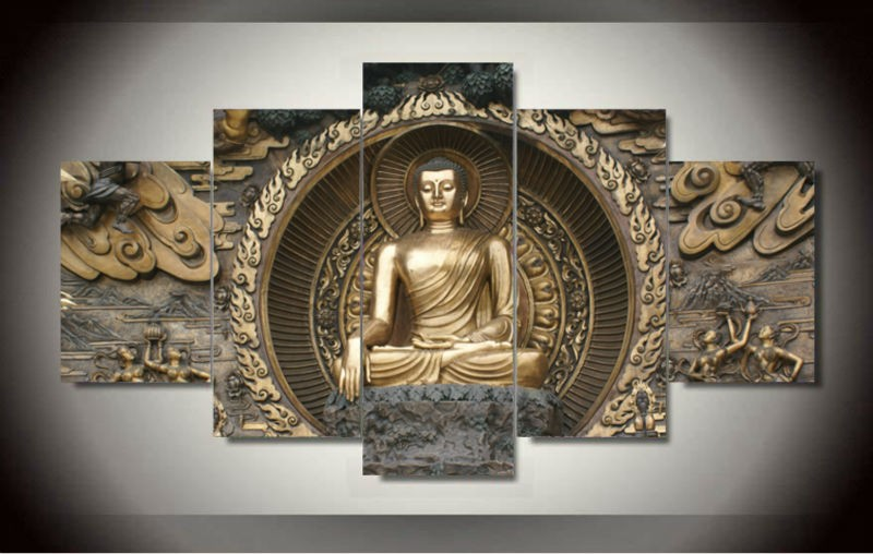 5 Panel Unframed Large Printed Buddha Statues Oil Painting