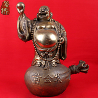 Bronze Sculpture Crafts Gold Bags Laughing Buddha Maitreya Decoration Lucky Home Decoration