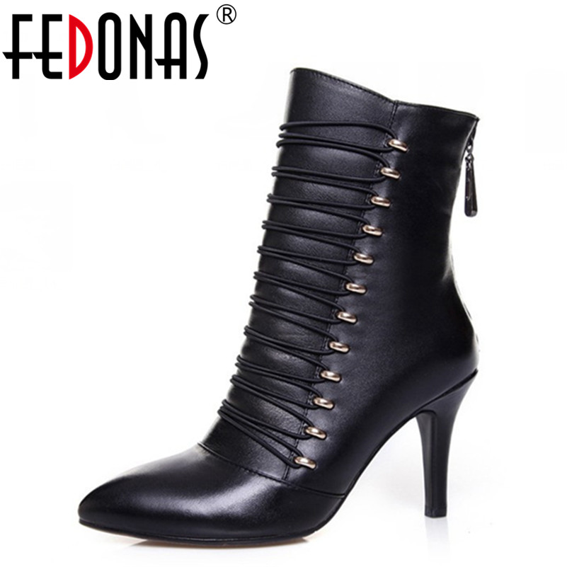 FEDONAS Fashion Autumn Winter Ankle Women Boots Zipper Thin High Heels Genuine Leather Shoes Woman Decoration Martin Boots Women fedonas top quality brand ankle boots super high heels buckles shoes woman winter warm genuine leather boots women martin boots