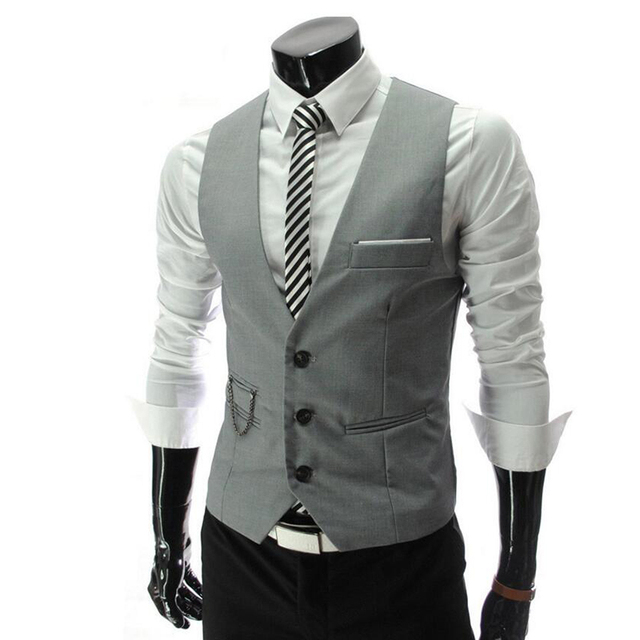 Brand Clothing 2017 Autumn Men's Slim Fit Dress Suit Vest Waistcoats Men Colete Fashion Hot Sale Coletes 4 Colors M-2XL