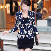 Autumn Floral Jacket Women Blazers And Jackets Plus Size Spring Suit Jacket Women Basic Coats Work