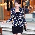 Outono Jaqueta Floral Mulheres Blazers E Jaquetas Plus Size Primavera Mulheres Jaqueta terno Desgaste do Trabalho Terno Pequeno Blaser Casacos Básicos C2348
