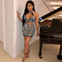 Sparkly Rhinestone Sexy 2 Piece Dress Set Women Halter Open Back Crop Top and Mini Skirt Suit Party Club Matching Sets Outfits