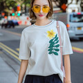 New Fashion Cotton white T shirts Tops O-neck Short Sleeve Floral Embroidery Korea Style Basic Comfort Tee Tops Pullovers