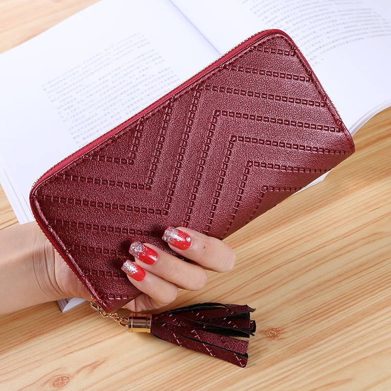2018 Tassel Pu Women Wallet Wallet For Women Purse Luxury Designer High Quality Brand Retro Casual Fashion Coin Purse Clutch retro tiny bell tassel anklet for women
