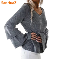 SanHuaZ Brand 2017 Fall Autumn Winter Women S Sweaters Casual V Neck Long Flare Sleeve Knitted
