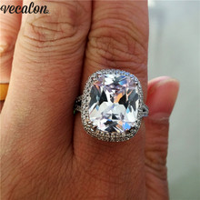 цена на Vecalon Big Promise Ring 925 sterling silver Cushion cut 8ct AAAAA Zircon Cz Engagement Wedding band rings for women Jewelry