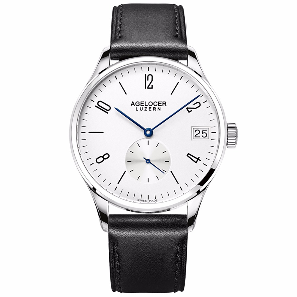 Agelocer Fashion Watches for Men White Dial Analog Watches Stainless Steel Automatic Watches Male Gift 1101A1-1202A1 цена