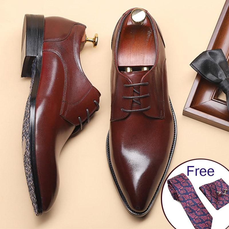 الرجال حقيقية أحذية من الجلد الأعمال اللباس أحذية تناسب الرجال العلامة التجارية بولوك جلد أسود الزفاف رجل أحذية الأسود براون Phenkang 2019-في أحذية رسمية من أحذية على  مجموعة 1