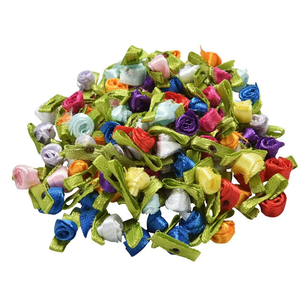 Горячая 50 шт. небольшой мини-атласная лента искусственные декоративные цветы розы Свадебные украшения Вышивание аппликации DIY для дома Вечерние