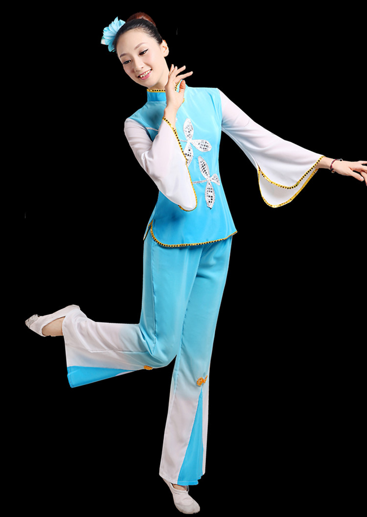 Chinese style Hanfu costumes costumes female classical fan dance costumes traditional Chinese dance costume in Chinese Folk Dance from Novelty Special Use