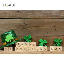 Laeacco St. Patrick's Day Clover Hat Wooden Board Photography Backgrounds Customized Photographic Backdrops For Photo Studio laeacco clover light spot st patrick s day photo backgrounds vinyl digital customized photography backdrops for photo studio