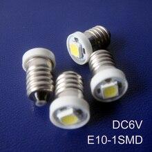 Alta calidad 6v E10, luz de señal E10,E10 6,3 V, luz indicadora E10 6v, E10 luz led, bombilla E10 DC6V, led E10, envío gratis 100 unidades por lote