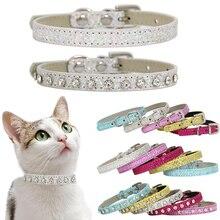 Бриллиантовые Стразы для кошек, ошейник для щенков, собачек, кошек, кожаный ремешок, аксессуары для котенка