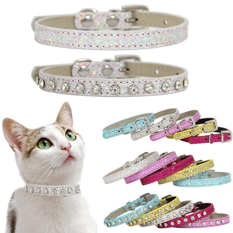 SUPREPET Shining Diamond Rhinestone Cat Collar Puppy Baby Dog Cat Collar Leather Strap For Kitten Accessories