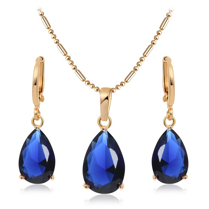 Aliexpress buy 18k yellow gold plated teardrop faceted aliexpress buy 18k yellow gold plated teardrop faceted sapphire blue cz earrings pendant for necklace fashion women jewelry sets black friday from aloadofball Choice Image
