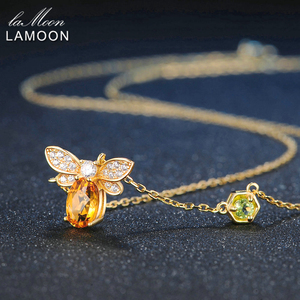 Image 4 - LAMOON  Bee 5x7mm 1ct 100% Natural Citrine 925 Sterling Silver Jewelry  Chain Pendant Necklace S925 LMNI015