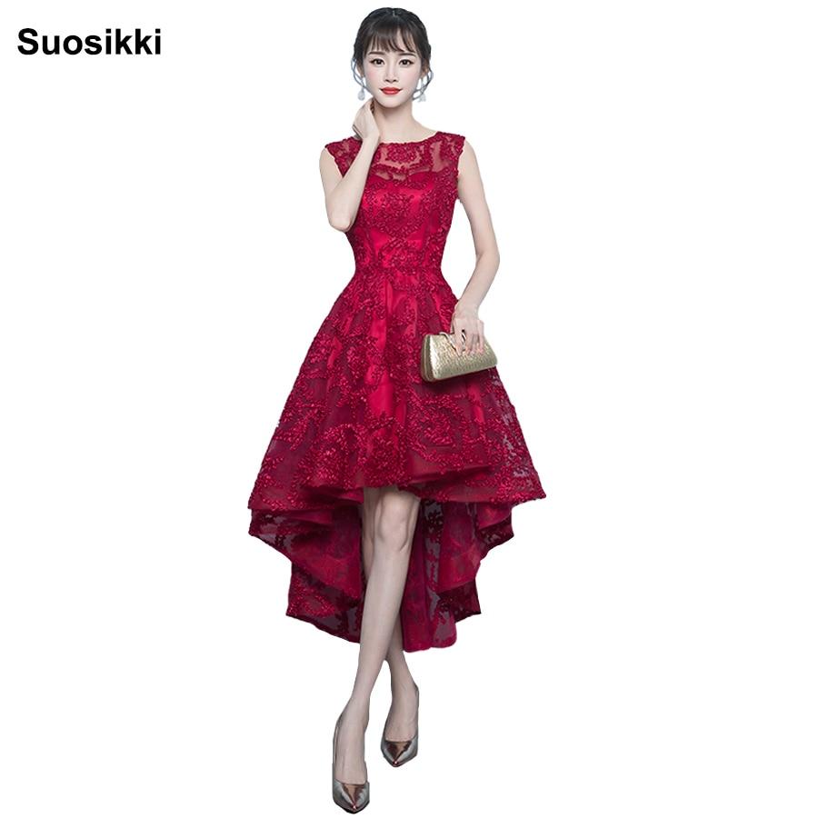 Suosikki Prom robe nouvel été élégante dentelle haute basse femmes robes de soirée formelles robe robe de novia