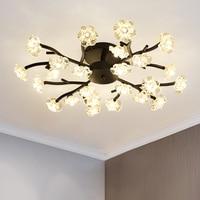 Modern ceiling lights crytal Gold LED ceiling lamp living room Bedroom flower mounted lighting lustre kitchen fixtures