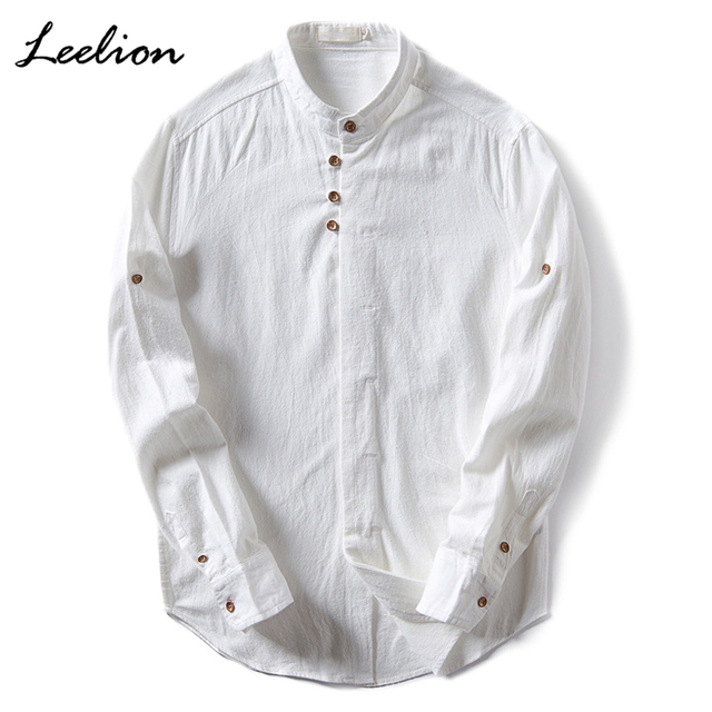 a7588ddcdf US $27.37  LeeLion 2018 Puro Lino Camicia Uomo Collo alla coreana Manica  Lunga Casual Slim Fit Vintage Camicie da Uomo Camisa Masculina Plus formato  ...