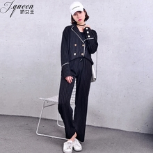 2018 Loose Black Suit Pants Women Office Lady Double Breasted New Fashion Casual Stripes
