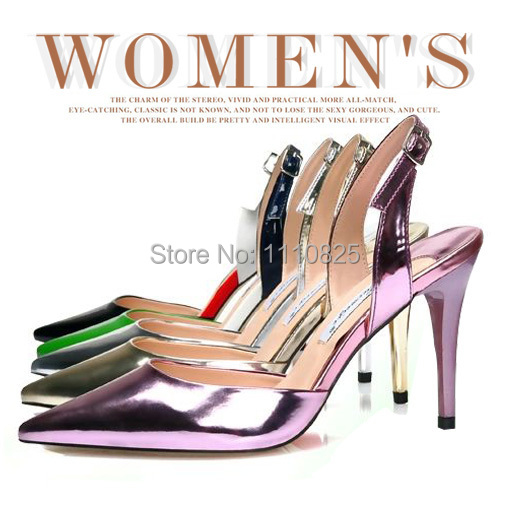 ФОТО Free shipping, 2014 new summer shoes, leather candy colored lady high-heeled pointed sandals, (green, black, gold, silver, pink)
