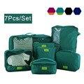 7 Unids/set Impermeable de Nylon Plegable de Viaje bolsas, mujeres y hombres viajan maletas mujeres bolsa de equipaje de viaje, Artículos de Viaje