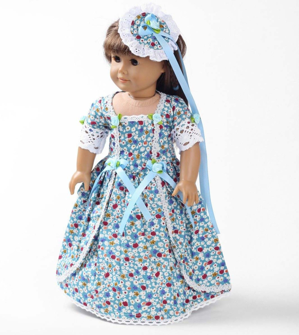 Blue Floral Maid Dress with Hair Flower for American Girl Grooming ...