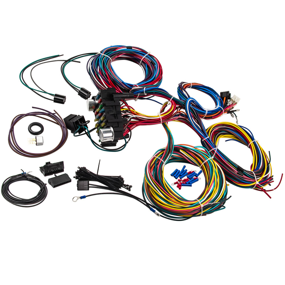 21 Circuit Wiring Harness Hot Rod Universal Wire Kit For Chevy Mopar Ford Extra Long Wires