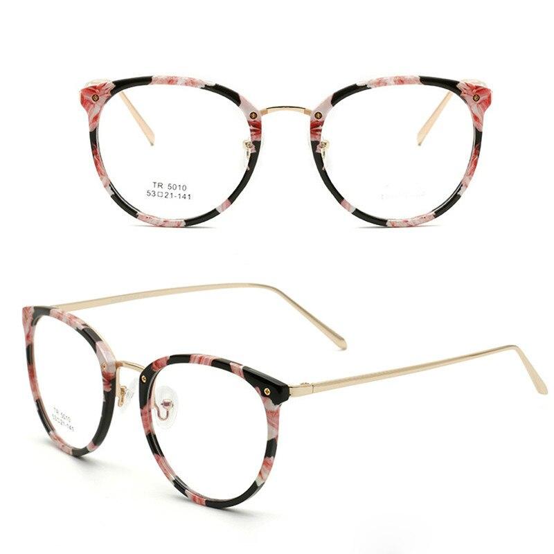 TR90 Women's Floral Round vintage Glasses Women Optical Frame Eyeglasses Clear Prescription Eyewear Oculos De Grau High Quality