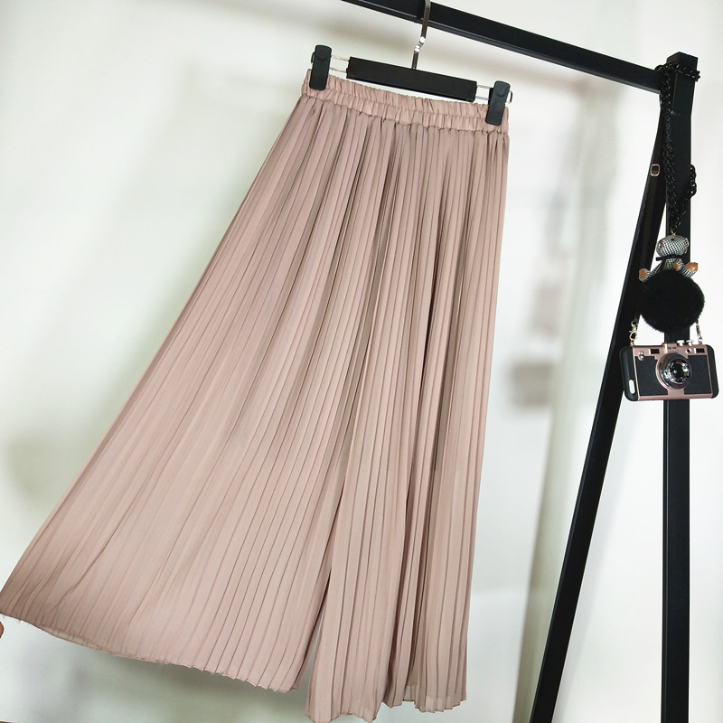 Plus Size 5xl Pleated Chiffon Wide Leg Pants Loose Casual Pants For Women Summer Fold Capris Women's Trousers Women's Breeches