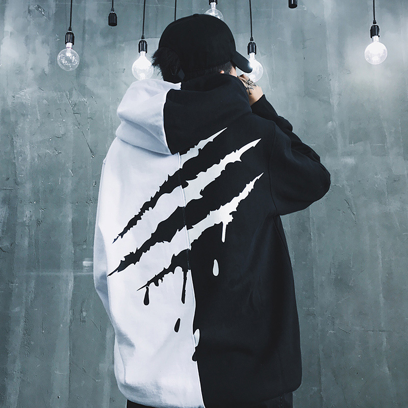 Black White  Splice Hoodies Oversize Hip-hop Style Swag Tyga Hoodie Autumn Winter Warm Thick Hoodies US Size XS-XL(China)