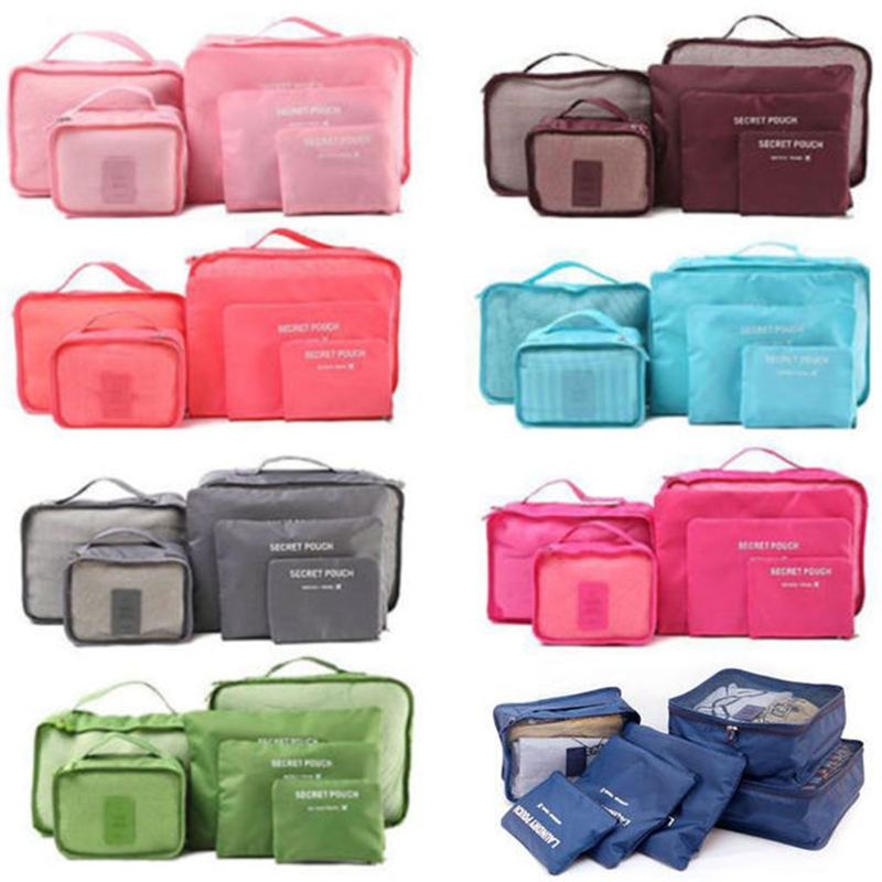 THINKTHENDO 6Pcs Waterproof Travel Clothes Storage Polyester Bags Luggage Organizer Pouch Packing Oxford Cloth+Mesh Case