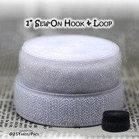 25 mètres pack 1 pouce SEW-ON crochet et boucle de fixation grip tactile bande couleur noir blanc artisanat couture et réparations