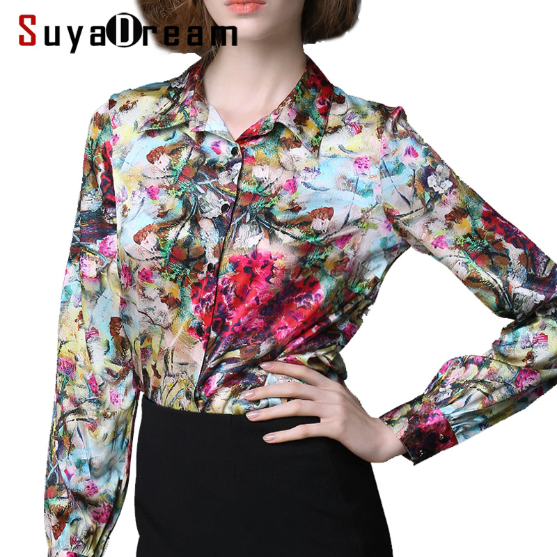 Real Silk Blouse Women Long Sleeve Plus Size Blouses Work Brand