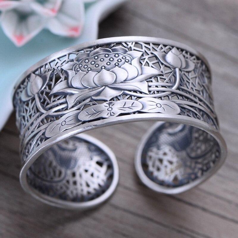 Véritable pur 999 Argent Sterling bracelets pour les femmes Large grand Lotus classique tibétain bouddhisme bijoux Jonc Argent 925