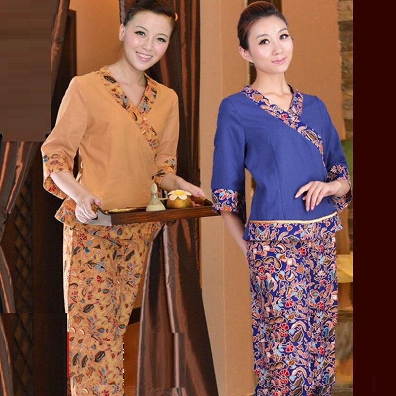 (10 Set/lot) Thai Massage Work Wear Women's Spa Workwear Female Hotel SPA Work Clothing Cotton Linen Plus Size Uniforms