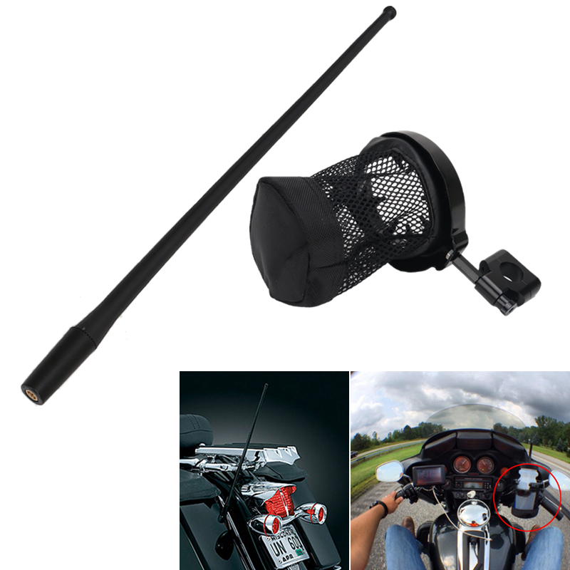 13.7'' AM FM XM Radio Antenna Mast & Drink Cup Holder for Harley Davidson Universal Motorcycle Accessories #ZU universal motorcycle handlebar cup holder chrome metal drink for honda kawasaki harley davidson tour dyna sportster fat bob