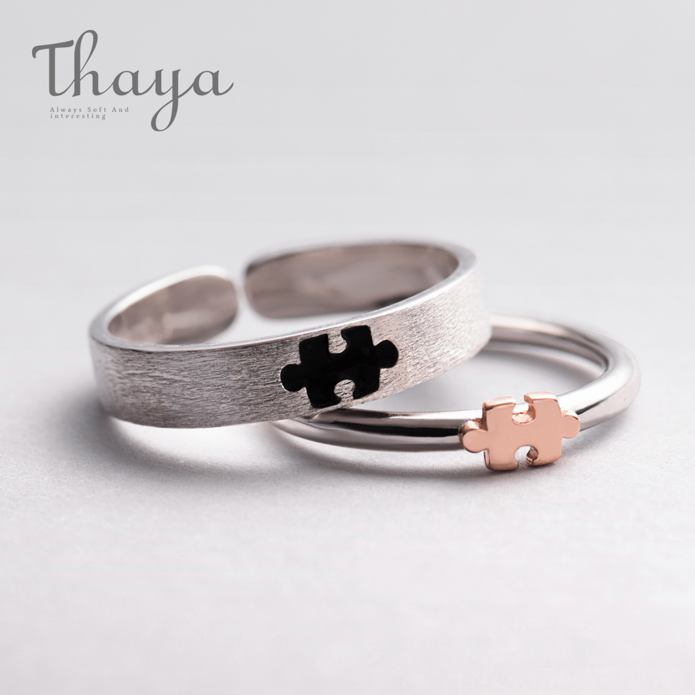 Thaya Rose Gold 3d Puzzle Rings Bijoux En Argent 925 Engagement Finger Ring For Women Gift Handmade Jewelry Bijoux Female