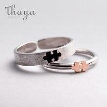 Thaya anillos de puzle 3d de oro rosa para mujer, bisutería de plata 925, anillo de dedo de compromiso, regalo, joyería hecha a mano, bisutería para mujer
