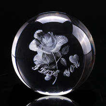 60mm 3D Rose Crystal Ball Miniature Flower Globe Laser Engrave Quartz Sphere Home Decor Wedding Gift Ornament Birthday Gift