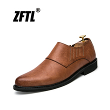 ZFTL New Men Casual Business shoes Genuine Leather Man British Dress shoes Male Slip-on Wedding shoes Spring Oxfords Black   029 недорго, оригинальная цена