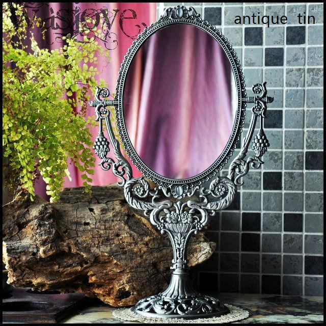 free shipping vintage double face retro tin alloy metal table makeup dresser desktop decorative mirror embossed frame makeup