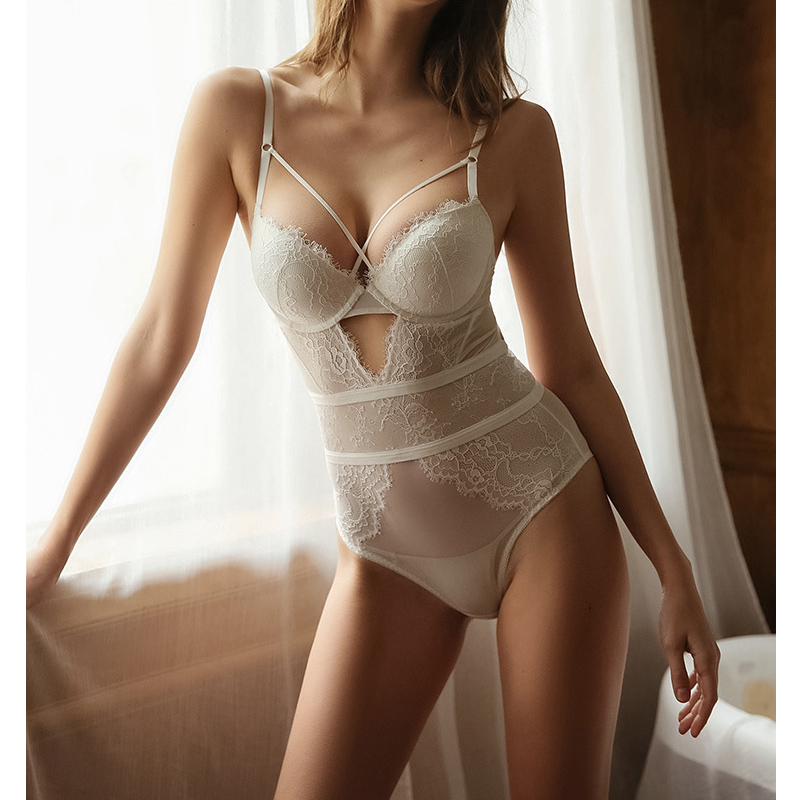 Shapewear Bodysuit Sexy Women Lingerie Strappy Cup Hollow Out Back Push Up Padded Cup Underwired Cotton Crotch